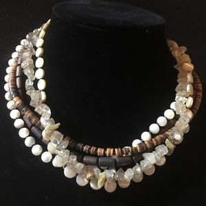 Real Stone and wood five strand silver necklace
